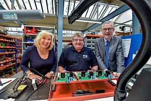 Lord Newby paid a visit to Andel's head office in Marsden, Huddersfield, LtR Julie Greenwood, managing director of Andel; Roger Sharp, technician at Andel and Lord Newby, Leader of the Liberal Democrats in the House of Lords.